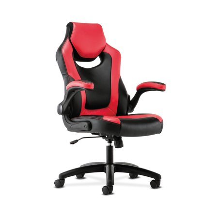 9-Twelve High-Back Racing Style Chair with Flip-Up Arms, Supports up to 225 lbs., Black Seat/Red Back, Black Base