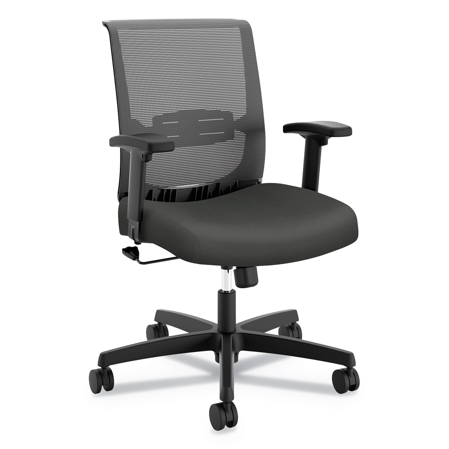 Convergence Mid-Back Task Chair with Swivel-Tilt Control, Supports up to 275 lbs, Iron Ore Seat, Black Back, Black Base