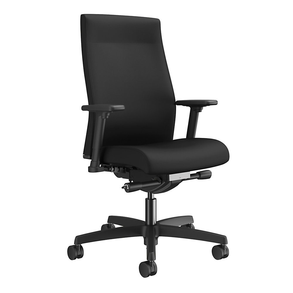 Ignition 2.0 Upholstered Mid-Back Task Chair With Lumbar, Supports up to 300 lbs., Black Seat, Black Back, Black Base