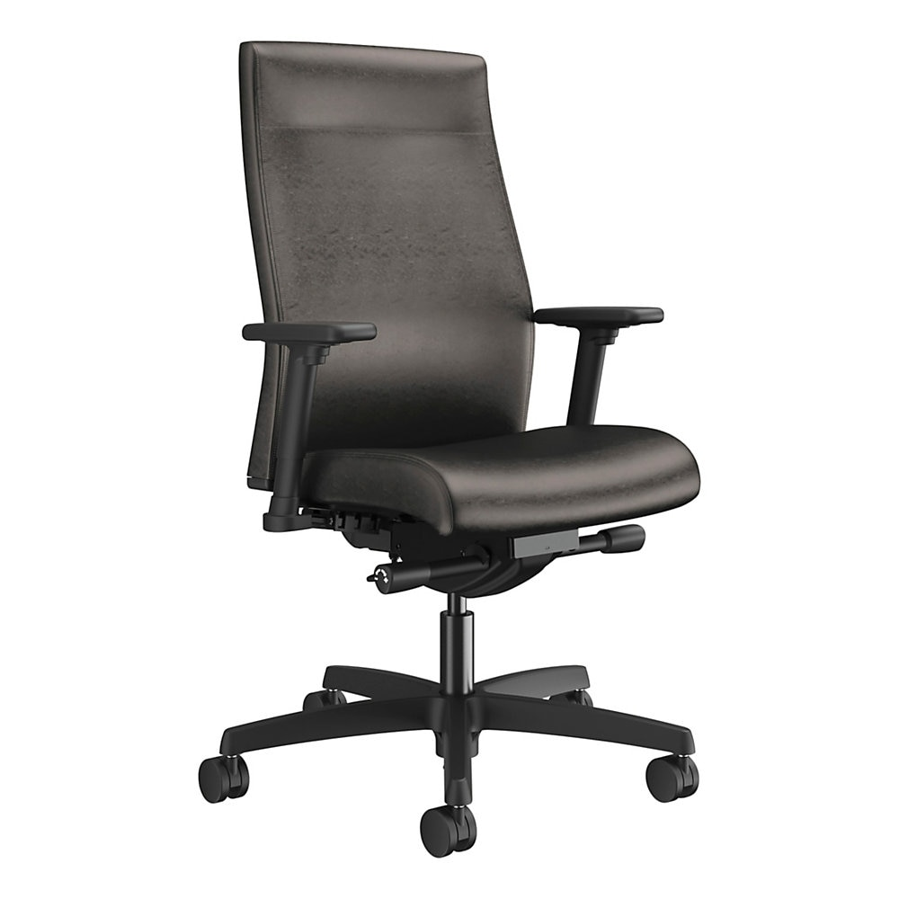 Ignition 2.0 Upholstered Mid-Back Task Chair, Supports up to 300 lbs., Black Seat, Black Back, Black Base