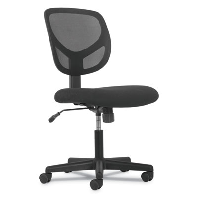 1-Oh-One Mid-Back Task Chair, Black Mesh Back/Black Fabric Seat Seat