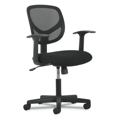 1-Oh-Two Mid-Back Task Chair, Black Mesh Back/Black Fabric Seat w/Arms