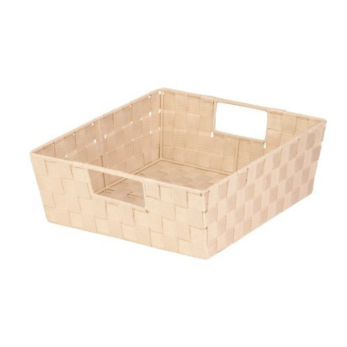 Honey-Can-Do STO-02984 Double Woven Shelf Tote With Handle, 13 in L x 15 in W x 5 in H, Creme
