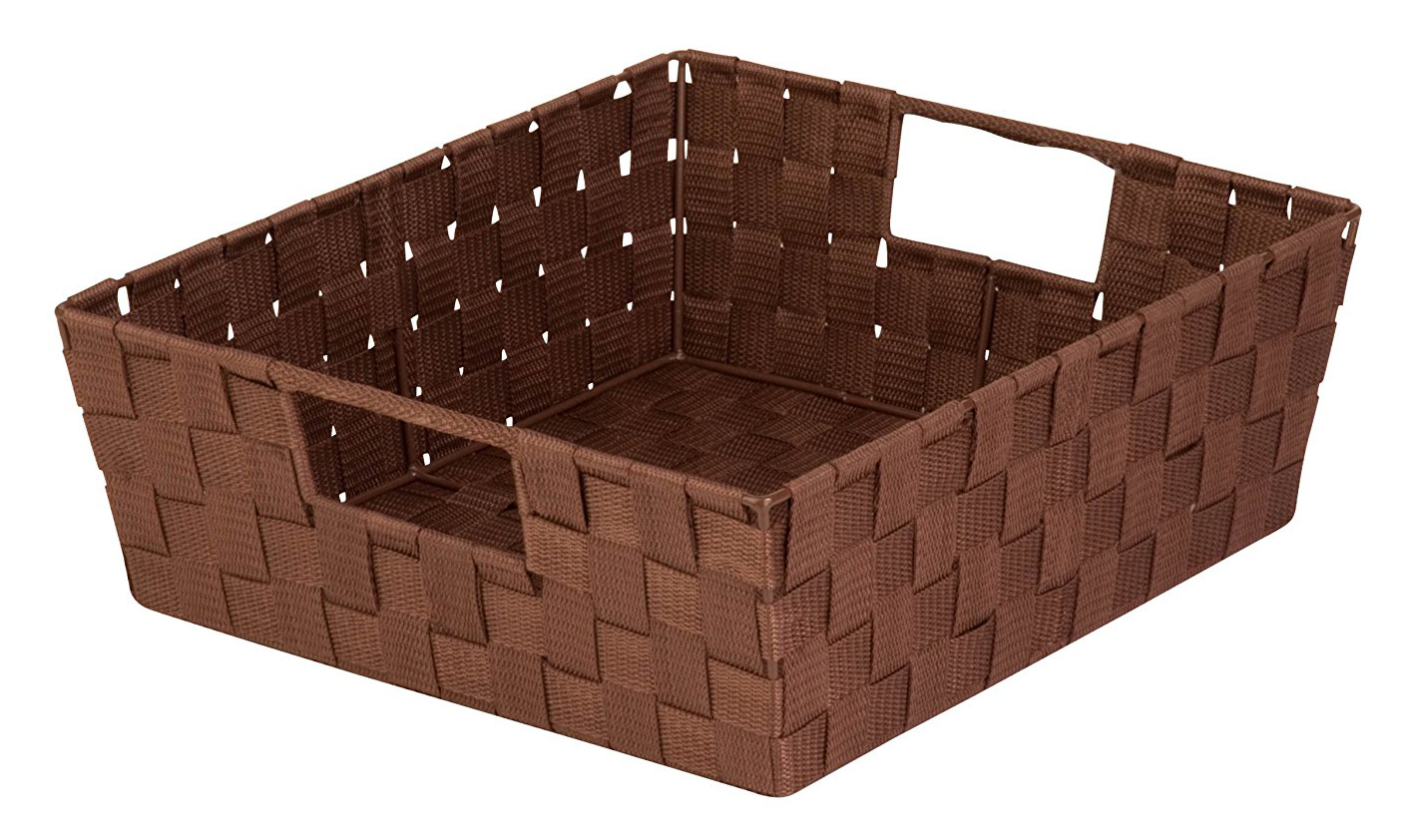 Honey-Can-Do STO-03049 Double Woven Shelf Tote With Handle, 13 in L x 15 in W x 5 in H, Brown