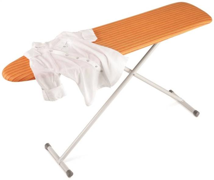 Honey-Can-Do BRD-01295 Rust-Resistant Standard Ironing Board, 54 in L x 13 in W x 35.4 in H, Orange/White