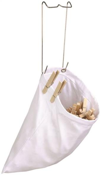 Honey-Can-Do DRY-01313 Hanging Clothespin Bag, 11.8 in H x 11 in W, Cotton, White