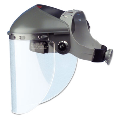 "High Performance Face Shield Assembly, 4"" Crown Ratchet, Noryl, Gray"