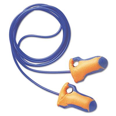 LT-30 Laser Trak Single-Use Earplugs, Corded, 32NRR, Orange/Blue, 100 Pairs