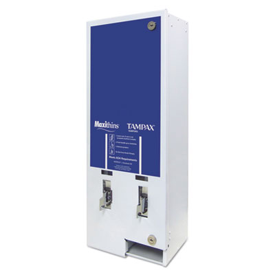 Maxithins/Tampax Dual Channel Vendor, Metal, 11 1/8 x 7 5/8 x 26 3/8, White/Blue