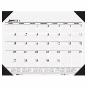 Recycled Workstation-Size One-Color Monthly Desk Pad Calendar, 18 1/2 x 13, 2017