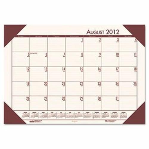 Recycled EcoTones Academic Desk Pad Calendar, 18.5x13, Brown Corners, 2016-2017