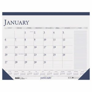 Recycled Two-Color Monthly Desk Calendar w/Large Notes Section, 18 1/2 x13, 2017
