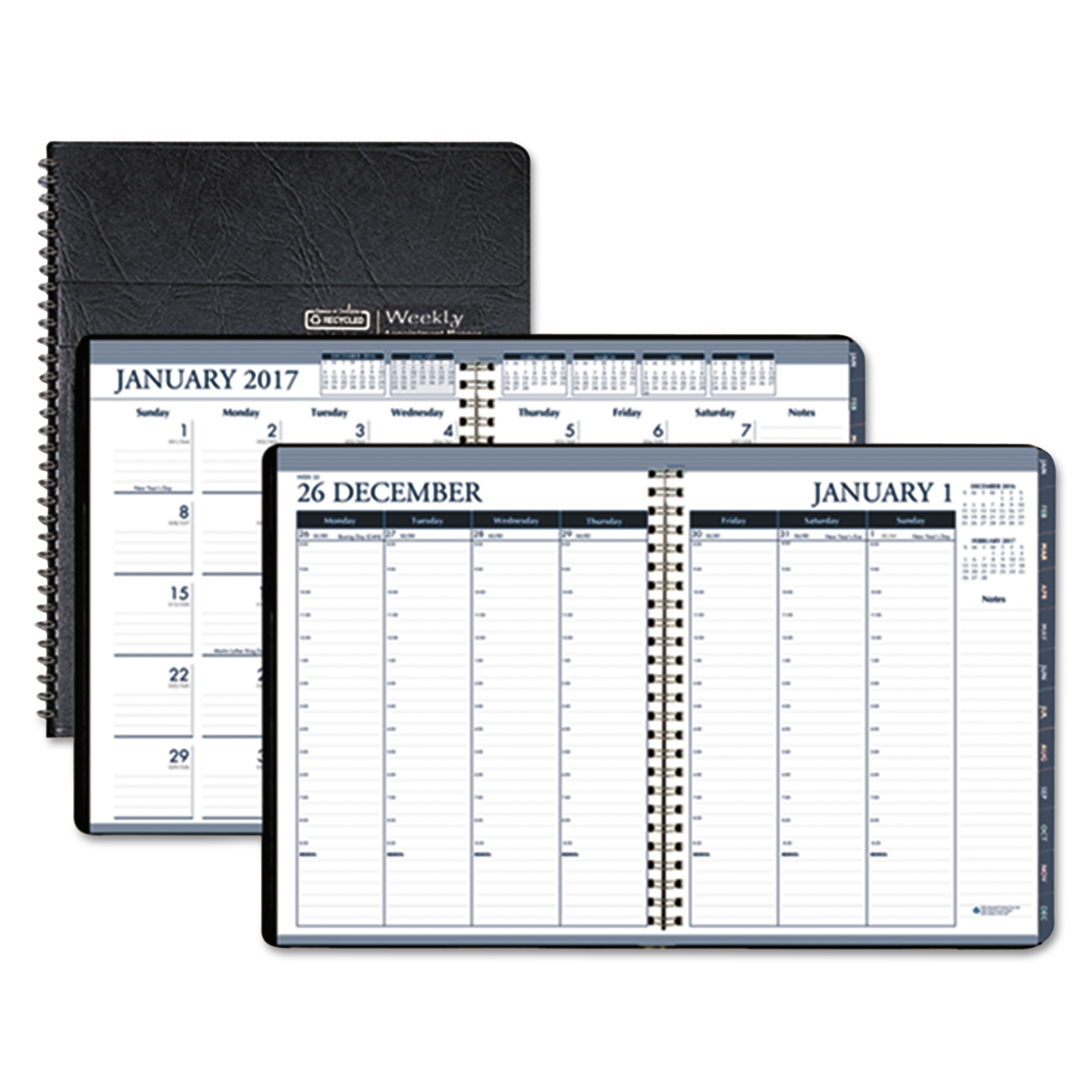 Recycled Wirebound Weekly/Monthly Planner, 8 1/2 x 11, Black Leatherette, 2017