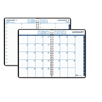 Recycled 24/7 Daily Appointment Book/Monthly Planner, 10 x 7, Black, 2017
