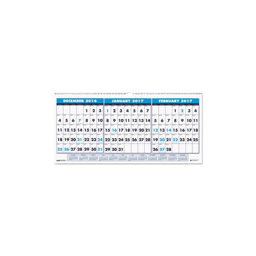 Recycled Three-Month Horizontal Wall Calendar, 23 1/2 x 12, 14-Month, 2016-2018