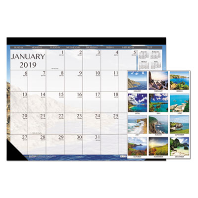 100% Recycled Earthscapes Seascapes Desk Pad Calendar, 22 x 17, 2018