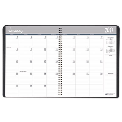 14 Month Ruled Monthly Planner, 6 7/8 x 8 3/4, Black, 2016-2018