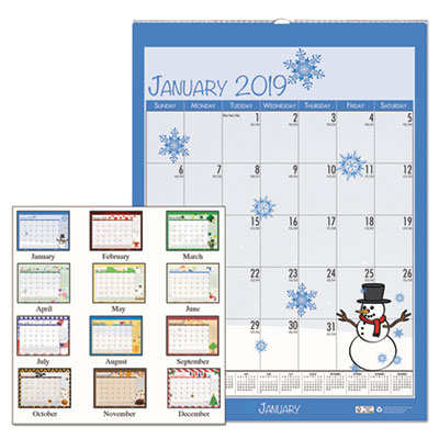 100% Recycled Seasonal Wall Calendar, 12 x 12, Blue, 2018
