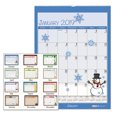 100% Recycled Seasonal Wall Calendar, 12 x 16 1/2, Blue, 2018
