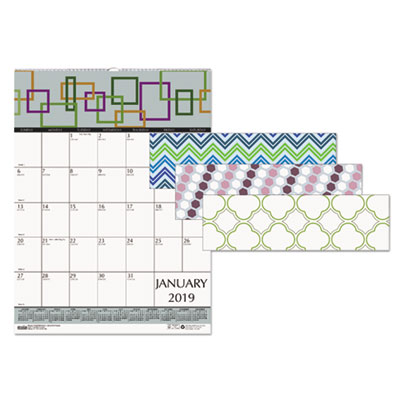 100% Recycled Geometric Wall Calendar, 12 x 12, 2018