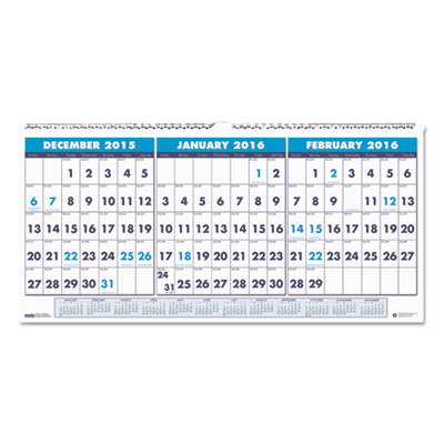 Recycled Three-Month Horizontal Wall Calendar, 17 x 8, 14-Month, 2016-2018