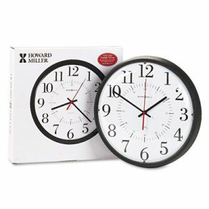 "Alton Auto Daylight Savings Wall Clock, 14"", Black"