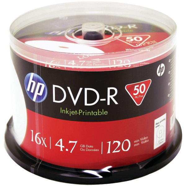 HP DM16WJH050CB 4.7GB Printable DVD-Rs, 50-ct Spindle