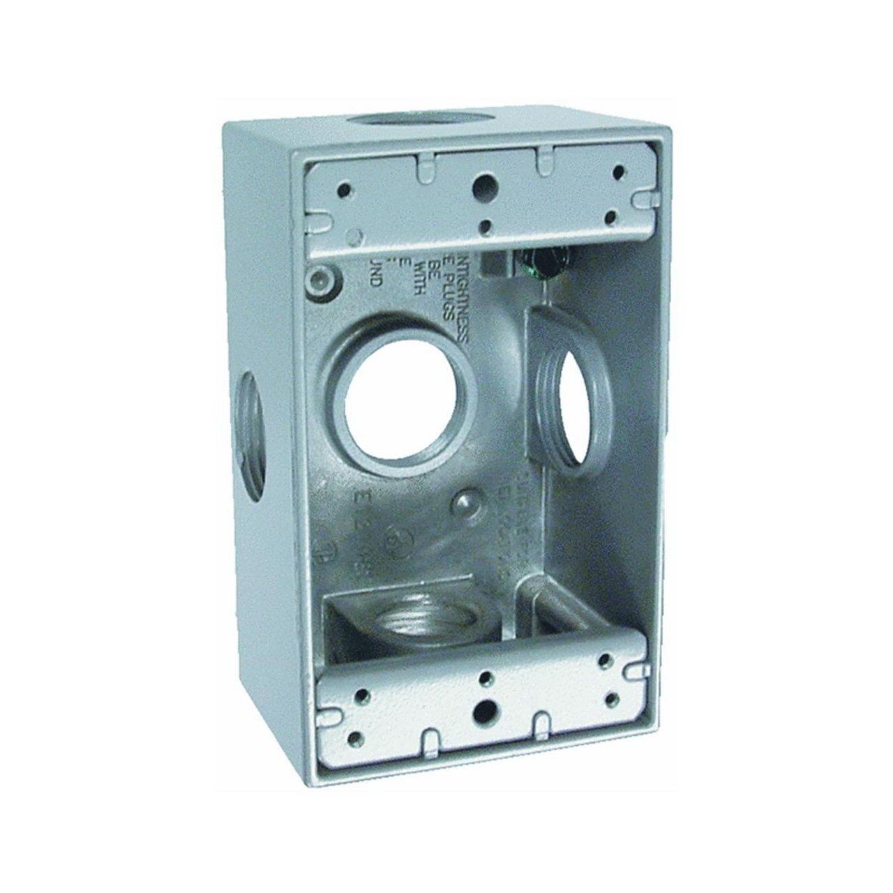 Bell 5332-0 Weatherproof Electrical Box, 1 Gang, 18.3 cu-in, 4-1/2 in L X 2-3/4 in W X 2 in D