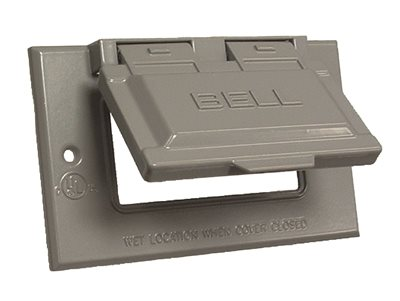 Bell Raco 5101-0 1-Hole Weatherproof Device Cover, 4-9/16 in L x 2-13/16 in W x 3/4 in T, Gray