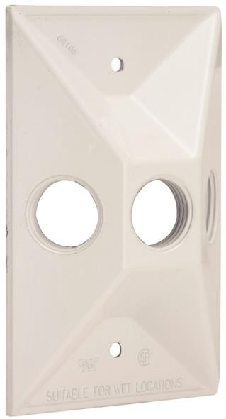 RECT COVER 3-1/2 OUTLETS WHITE