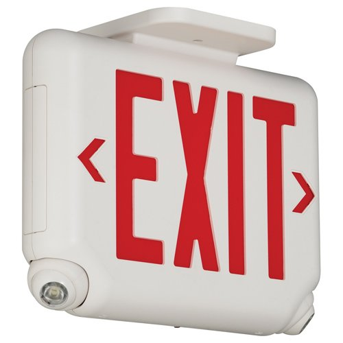DUAL-LITE� LED COMBINATION EXIT/EMERGENCY LIGHT, RED LETTERS, WHITE