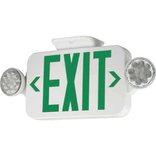 COMPASS� LED COMBINATION EXIT/EMERGENCY LIGHT, GREEN LETTERS, WHITE, DAMP LOCATION LISTED, REMOTE CAPACITY