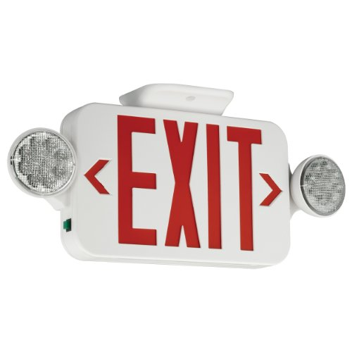 COMPASS� LED COMBINATION EXIT/EMERGENCY LIGHT, RED LETTERS, WHITE, DAMP LOCATION LISTED