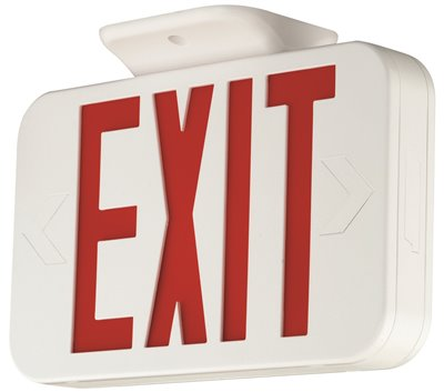 COMPASS� LED EXIT SIGN WITH NICAD BATTERY, RED LETTERS, WHITE, DAMP LOCATION LISTED