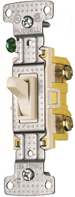 TOGGLE SWITCH SINGLE POLE 15A 120V ALMOND