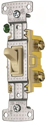 3-WAY TOGGLE SWITCH, SELF-GROUNDING, IVORY, 120 VOLTS, 15 AMPS