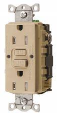 HUBBELL� AUTOGUARD� COMMERCIAL STANDARD TAMPER-RESISTANT GFCI RECEPTACLE, IVORY, NEMA 5-15R, 125 VOLTS, 15 AMPS