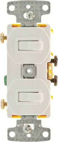 2 GANG SWITCH COMBO 15 AMP WHITE