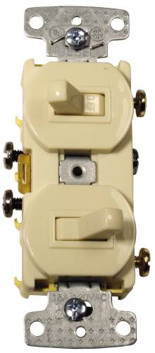 3 WAY AND REGULAR TOGGLE SWITCH COMBO 15 AMP WHITE