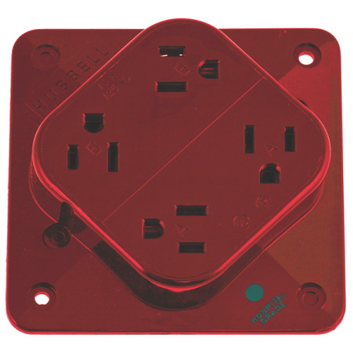 RECEPTACLE HOSPITAL GRADE 4-PLEX 20A 125V 5-20R RED