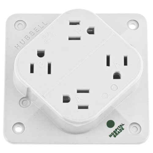 RECEPTACLE HOSPITAL GRADE 4-PLEX 20A 125V 5-20R WHITE