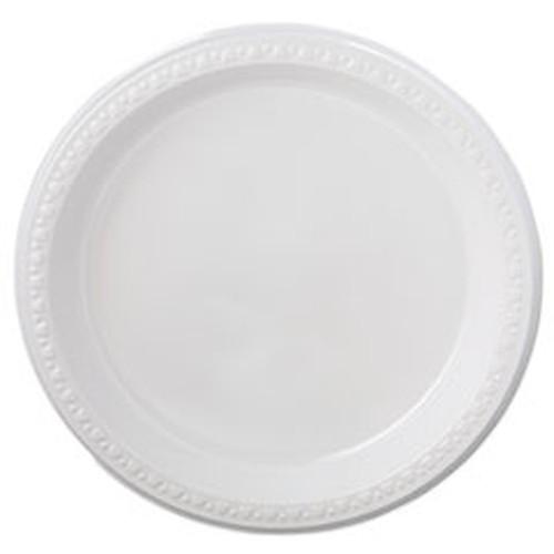 """Heavyweight Plastic Plates, 9"""" Diameter, White, 125/Pack, 4 Packs/CT"""