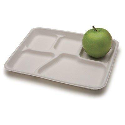 "Savaday Molded Fiber Dinnerware, 10.5"" Dia, 5-Compartment Plate, White, 250/Carton"
