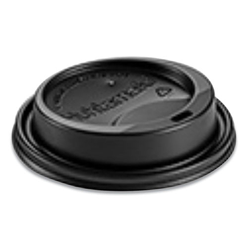 Hot Cup Lids, Fits 10-24 oz Hot Cups, Dome Sipper, Black, 1,000/Carton
