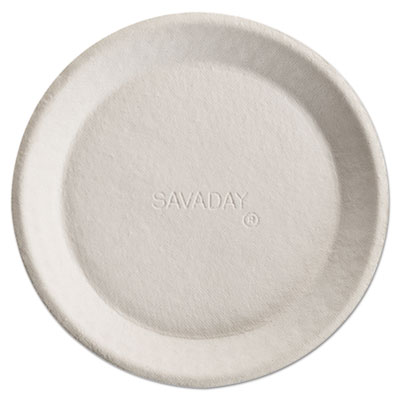 Savaday Molded Fiber Plates, 10 Inches, White, Round
