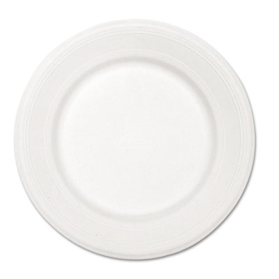 "Paper Dinnerware, Plate, 10 1/2"" dia, White, 500/Carton"