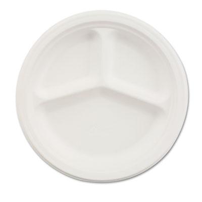 "Paper Dinnerware, 3-Comp Plate, 9 1/4"" dia, White, 500/Carton"