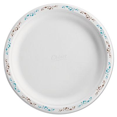 """Molded Fiber Dinnerware, Plate, 10 1/2""""Dia, WH, Vines, 125/Pack, 4 Packs/Carton"""