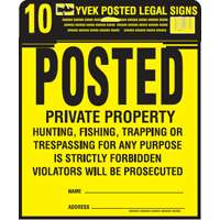 SIGN POSTED LEGAL KIT 12X12IN