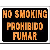 Hy Glo 3069 Bilingual Identification Sign, No Smoking, 12 in W x 9 in L